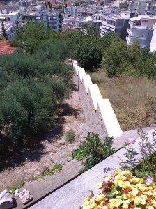 Muren som de arbetat med under vistelsen här